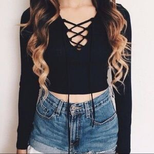 Crisscrossing Front Tie Ribbed Shirt